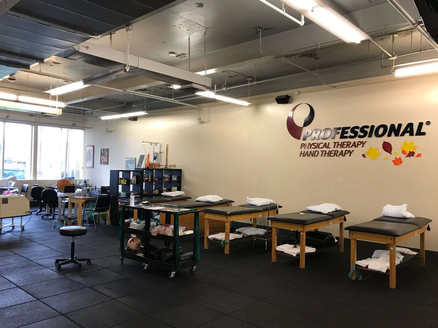 An image of five stretch beds along a wall under our Professional Physical Therapy sign at our clinic in Melville, Long Island in Suffolk County, New York.
