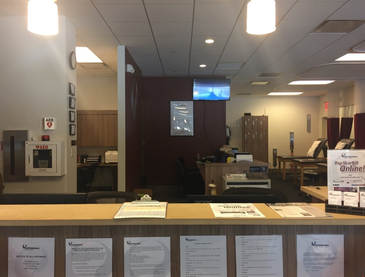 This is an image of the front desk at our physical therapy clinic in Paramus, New Jersey.