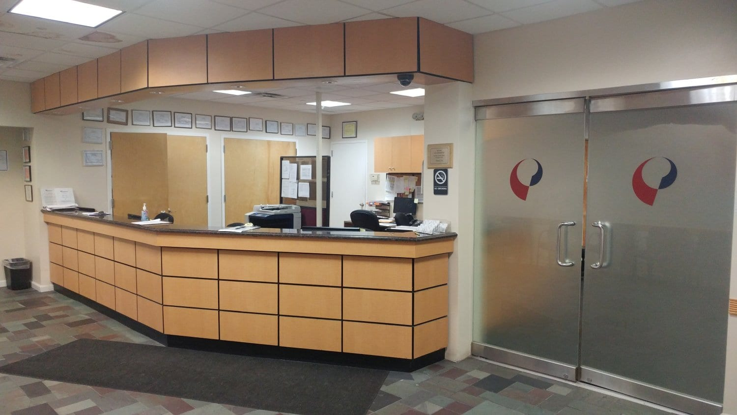 An image of the reception desk at our physical therapy clinic in Bayside Whitestone, New York.