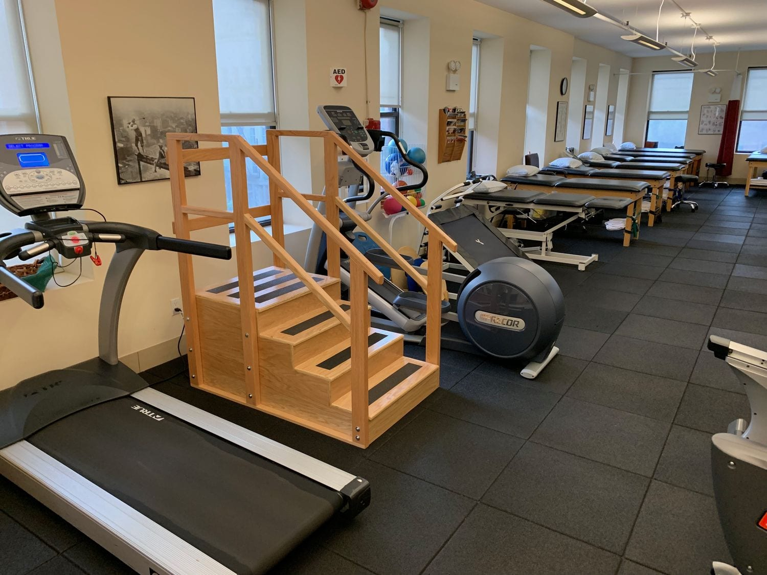 Stairs and treadmills at our physical therapy clinic in Manhattan, New York City at Upper East Side on 87th st.