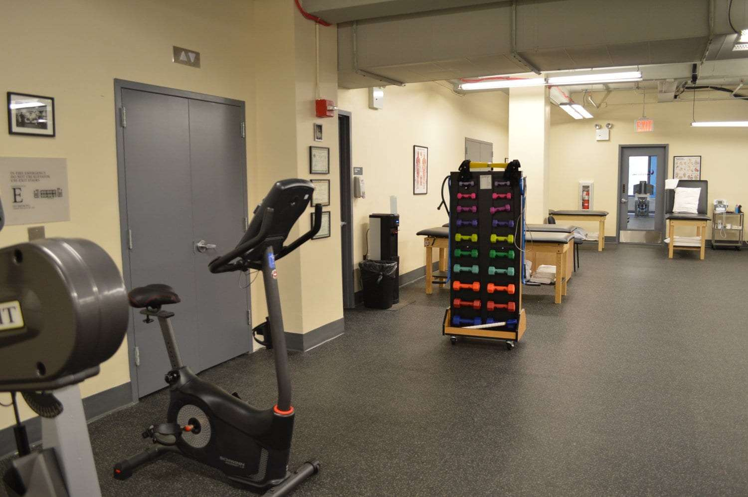 Here is an image of different weights in the training room at our physical therapy clinic in West Pennplaza, New York. The facility is located in Midtown West Manhattan. These weights are great for strength training.