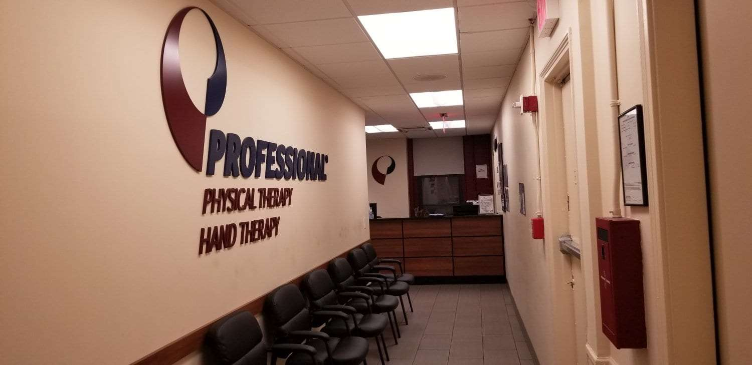 An image of the hallway to reception at our physical therapy clinic in Brooklyn Heights, New York.
