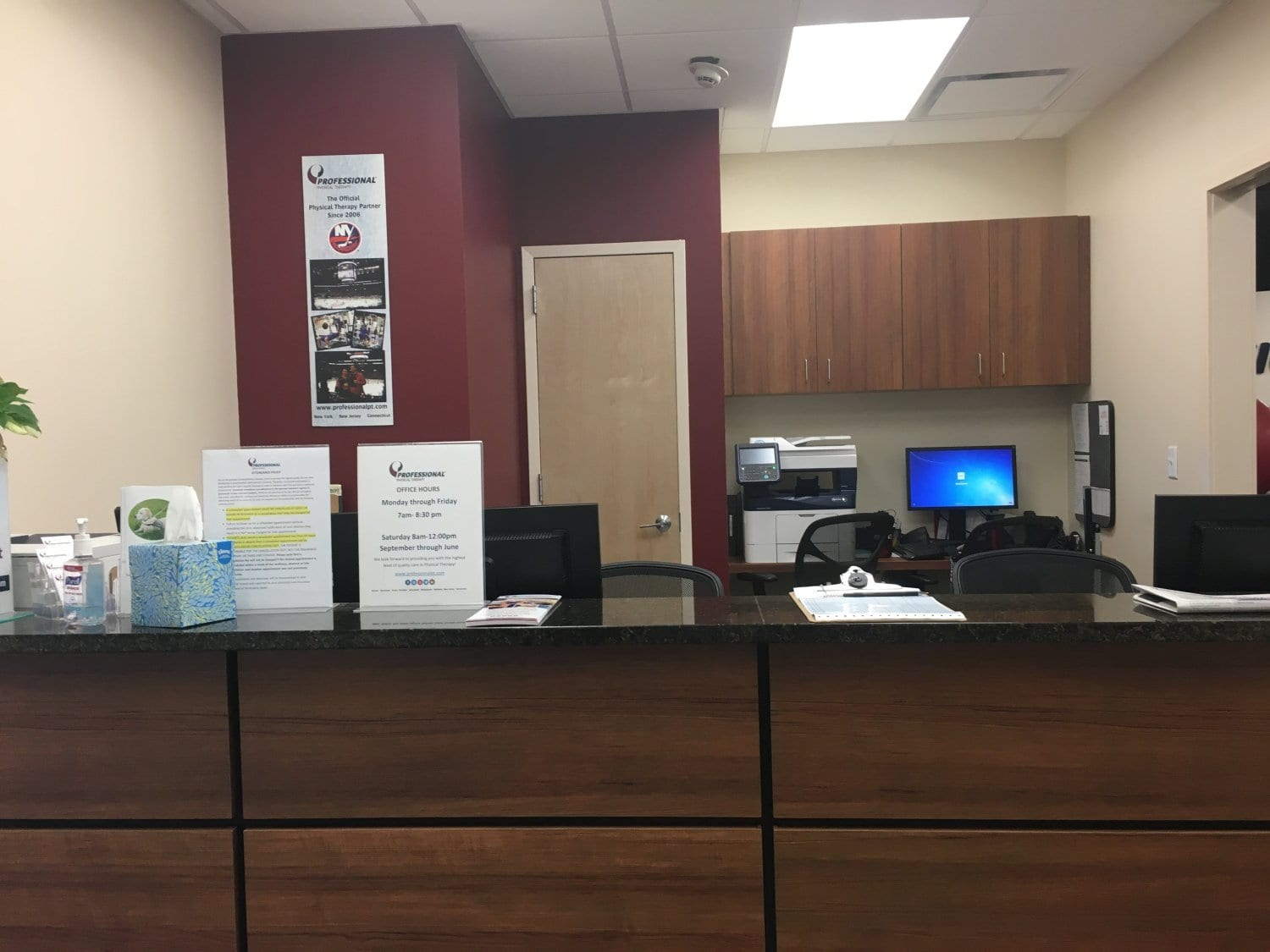 An image of the front desk at our physical therapy clinic in Katonah, New York.