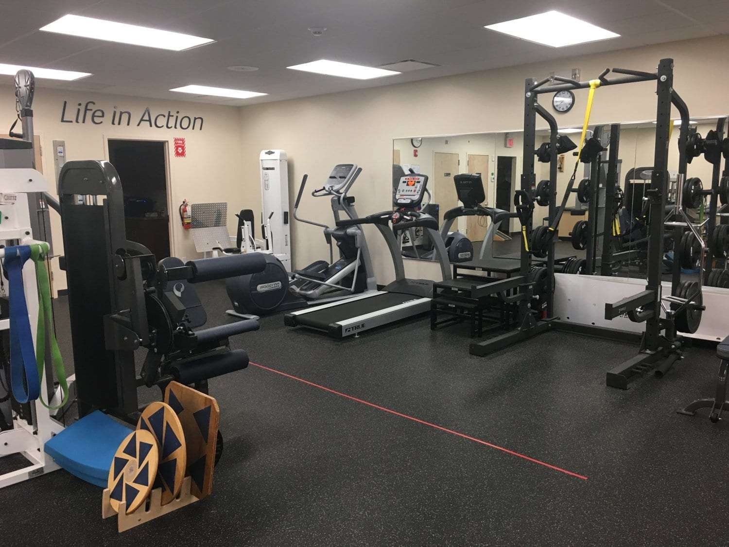An image of the training room with equipment used for physical therapy at our clinic in Katonah, New York.