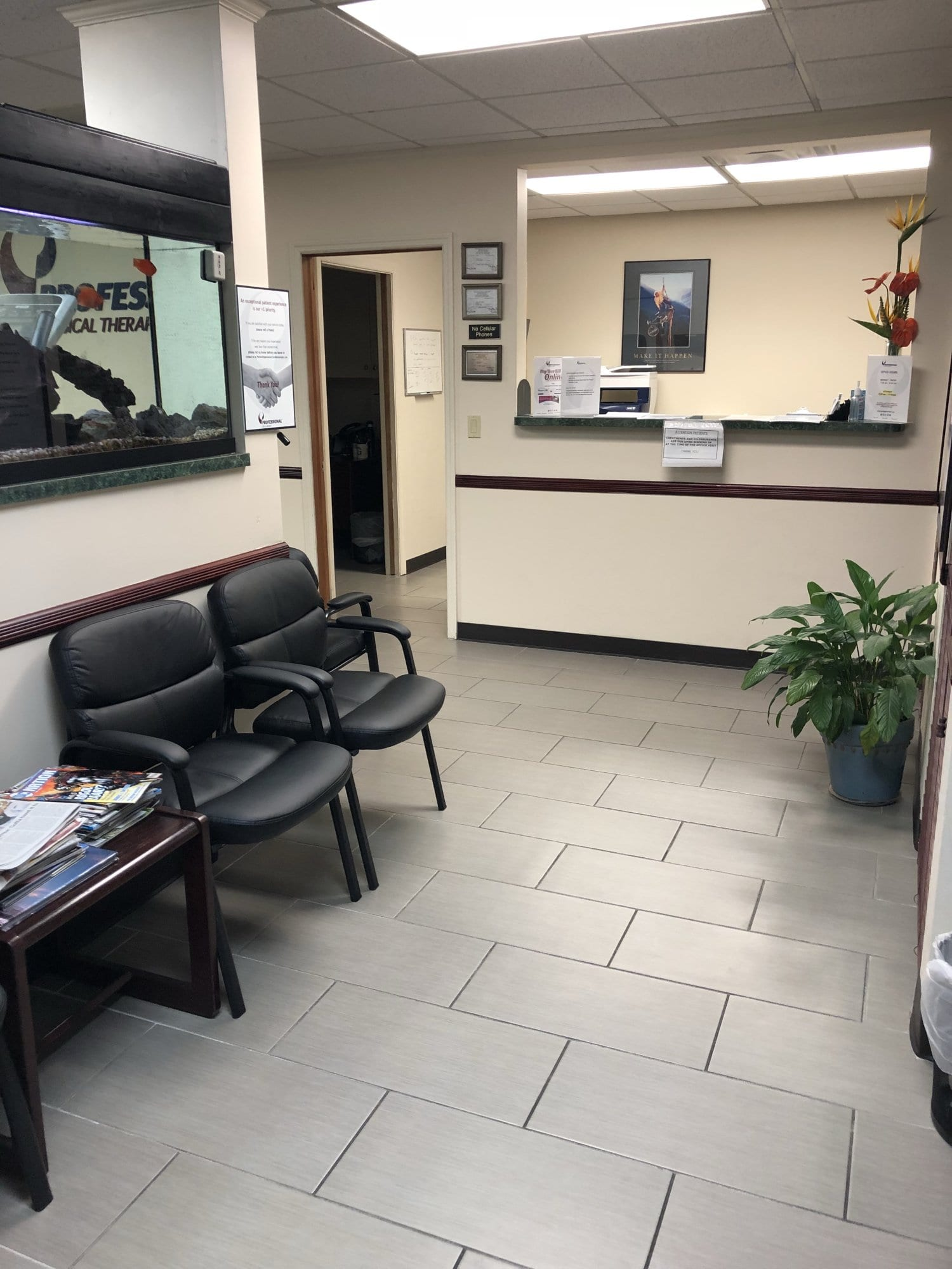 Here is the waiting area at our physical therapy clinic in Williston Park NY in Long Island.