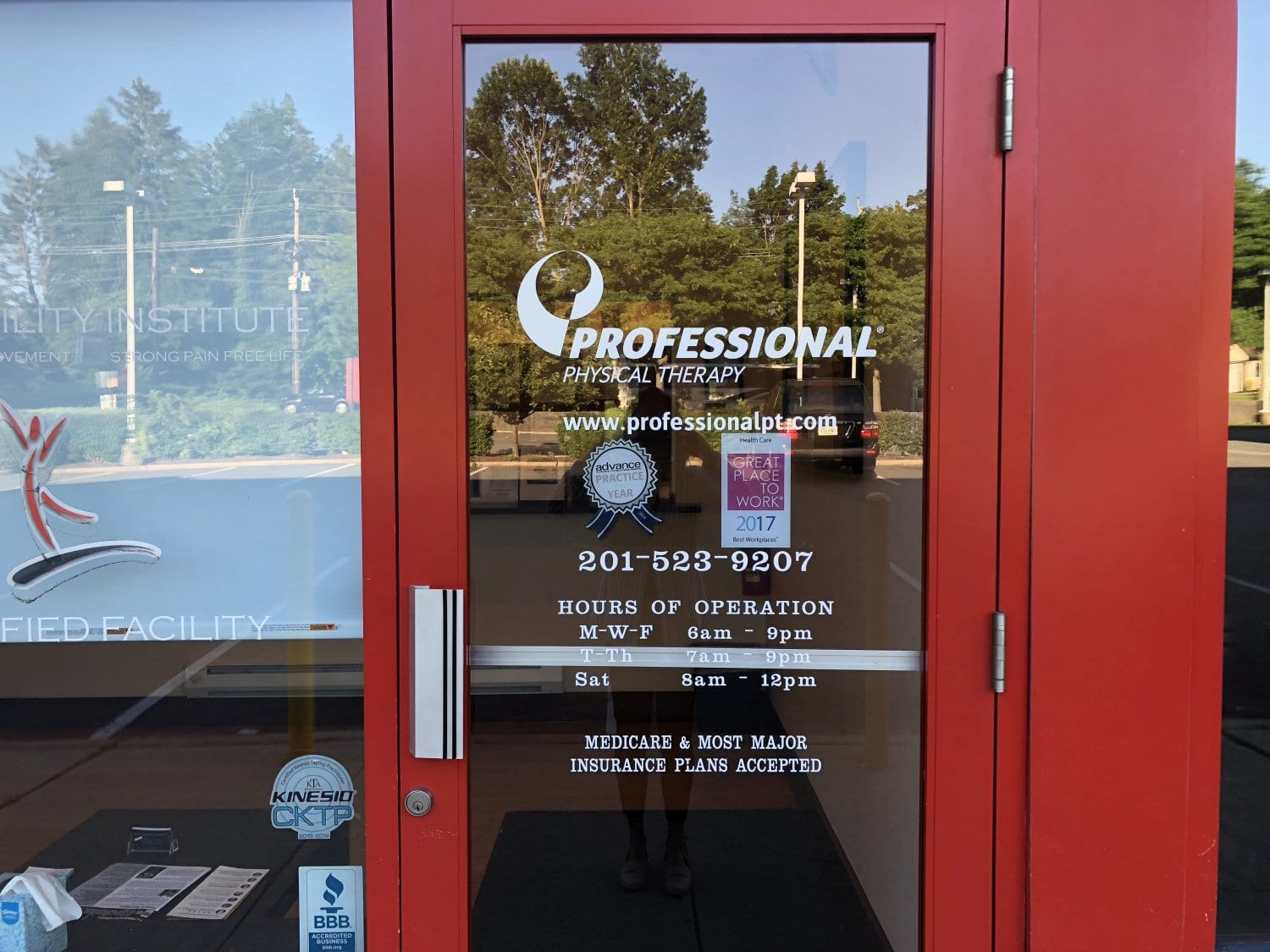 Here is a shot of the front door to our physical therapy clinic in River Edge, New Jersey.
