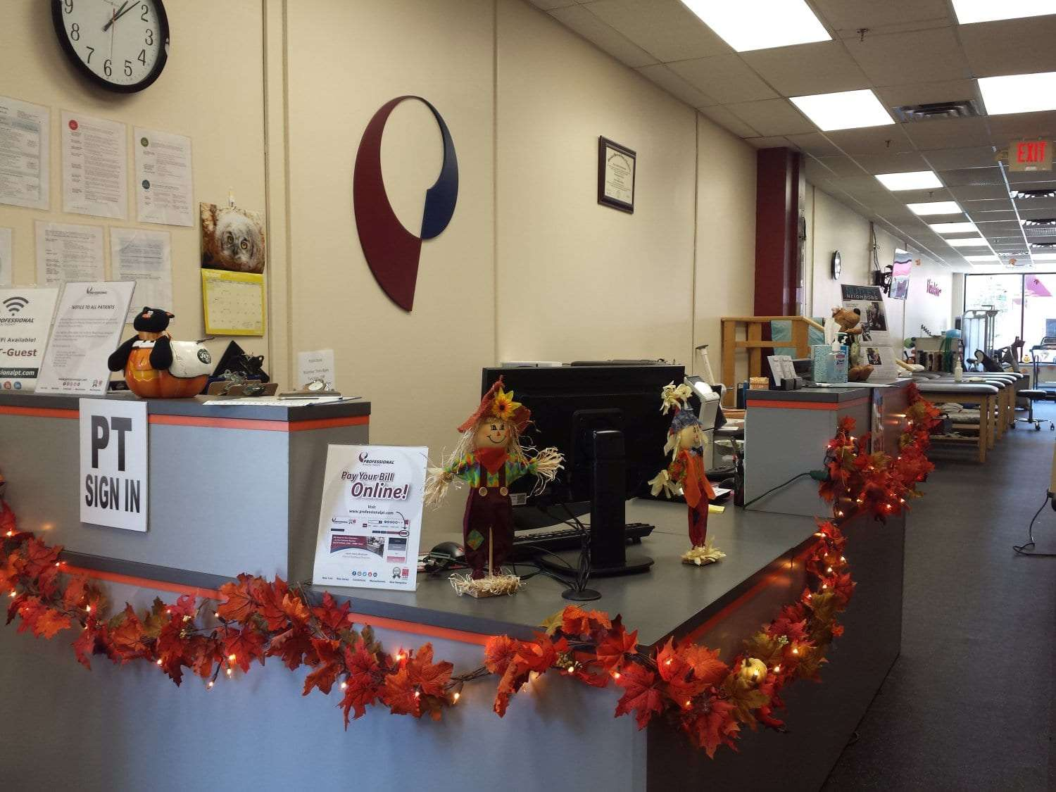 Here is a photo of the front desk at our physical therapy clinic in Nutley, New Jersey at Midtown.