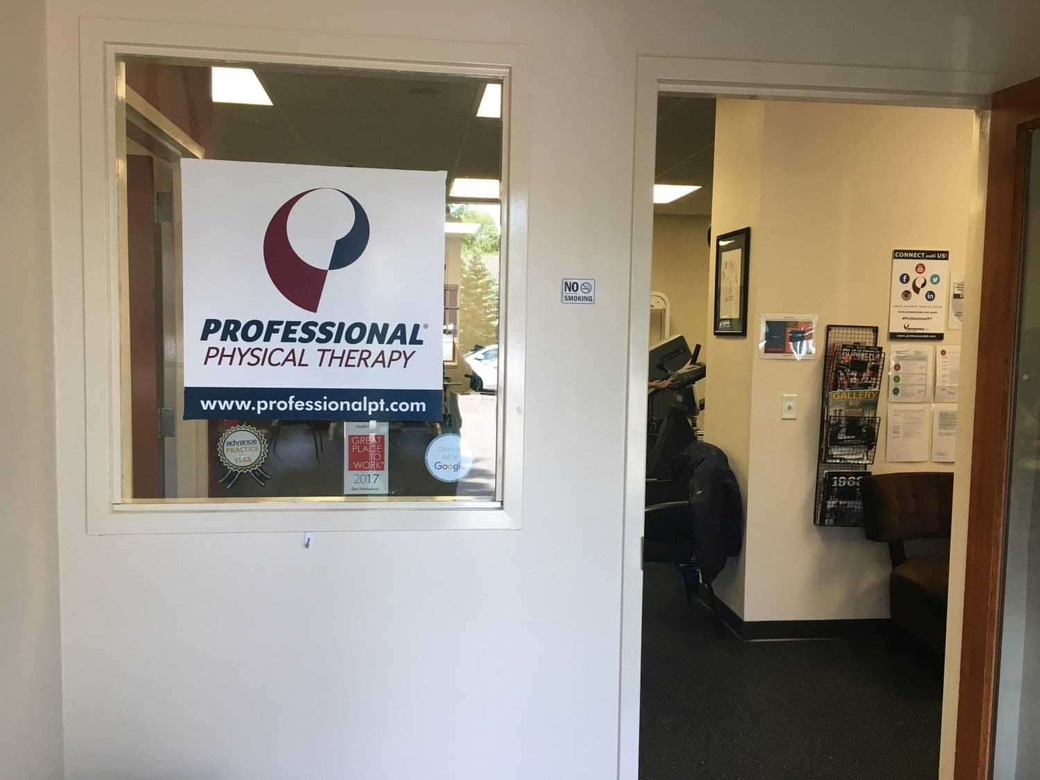 Wyckoff New Jersey physical therapy clinic office entrance with sign on window.