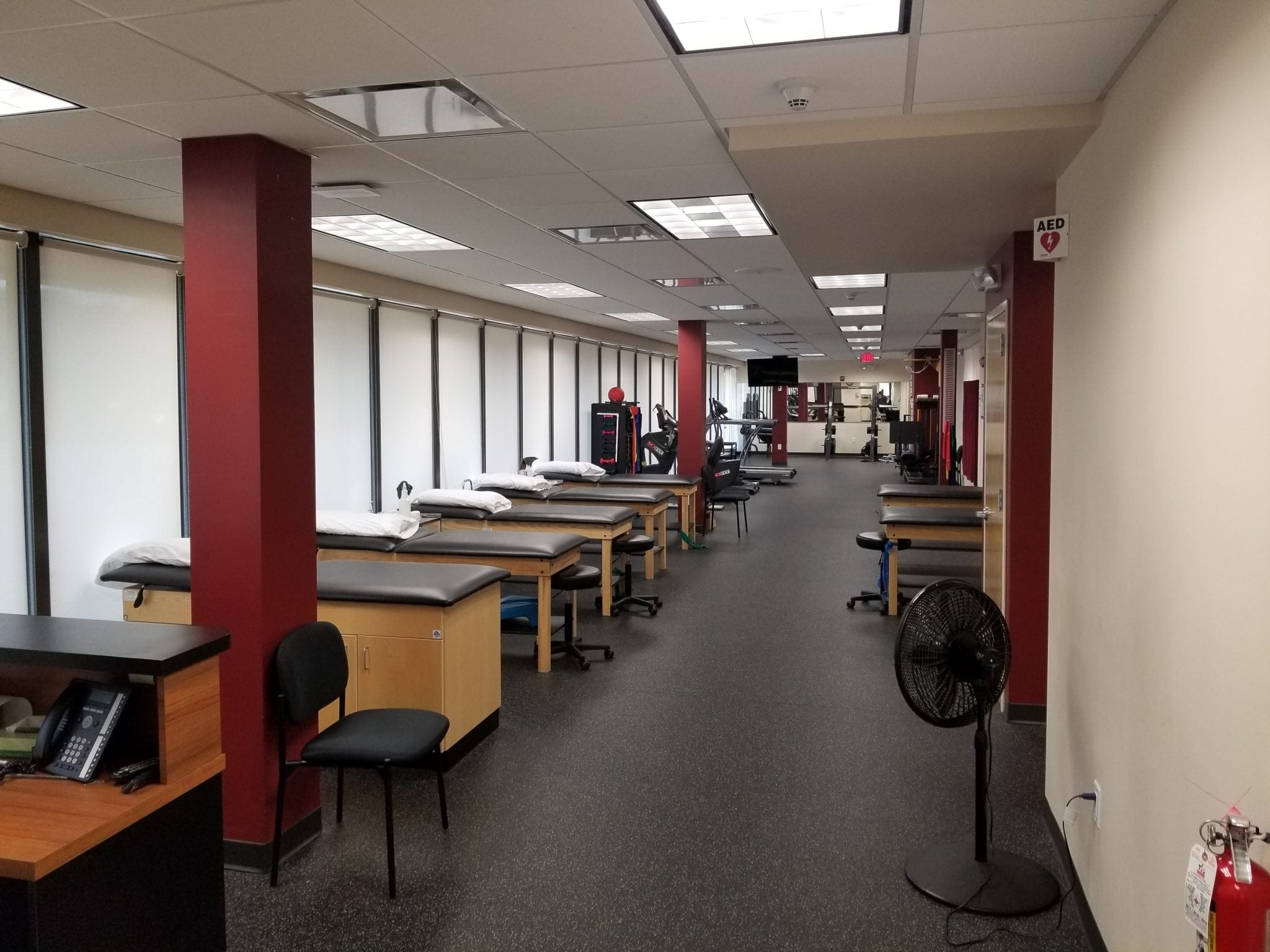 Here is an image of seven stretch beds at our physical therapy clinic in East Englewood, New Jersey.