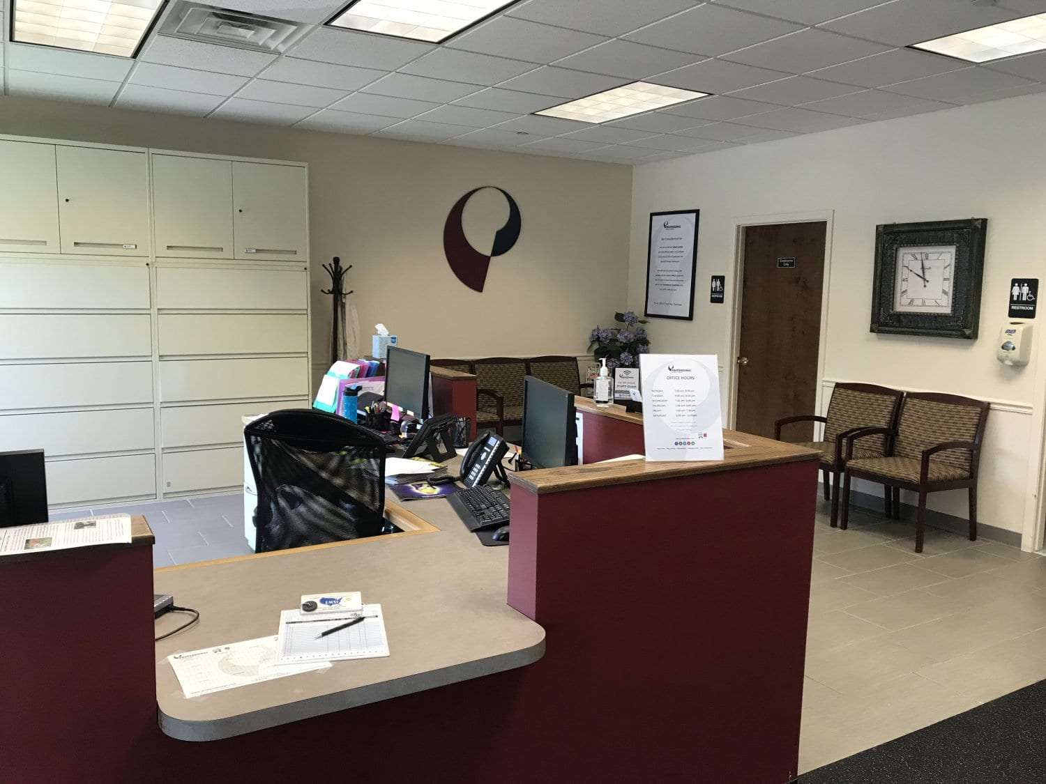 This is a photo of the front desk at our physical therapy clinic in East Hanover, New Jersey.