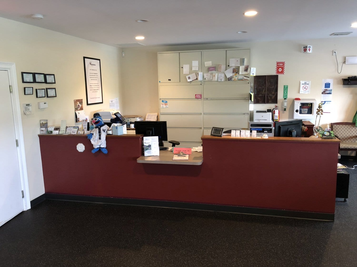 Here is the front desk of our physical therapy clinic in Spring Lake, New Jersey.