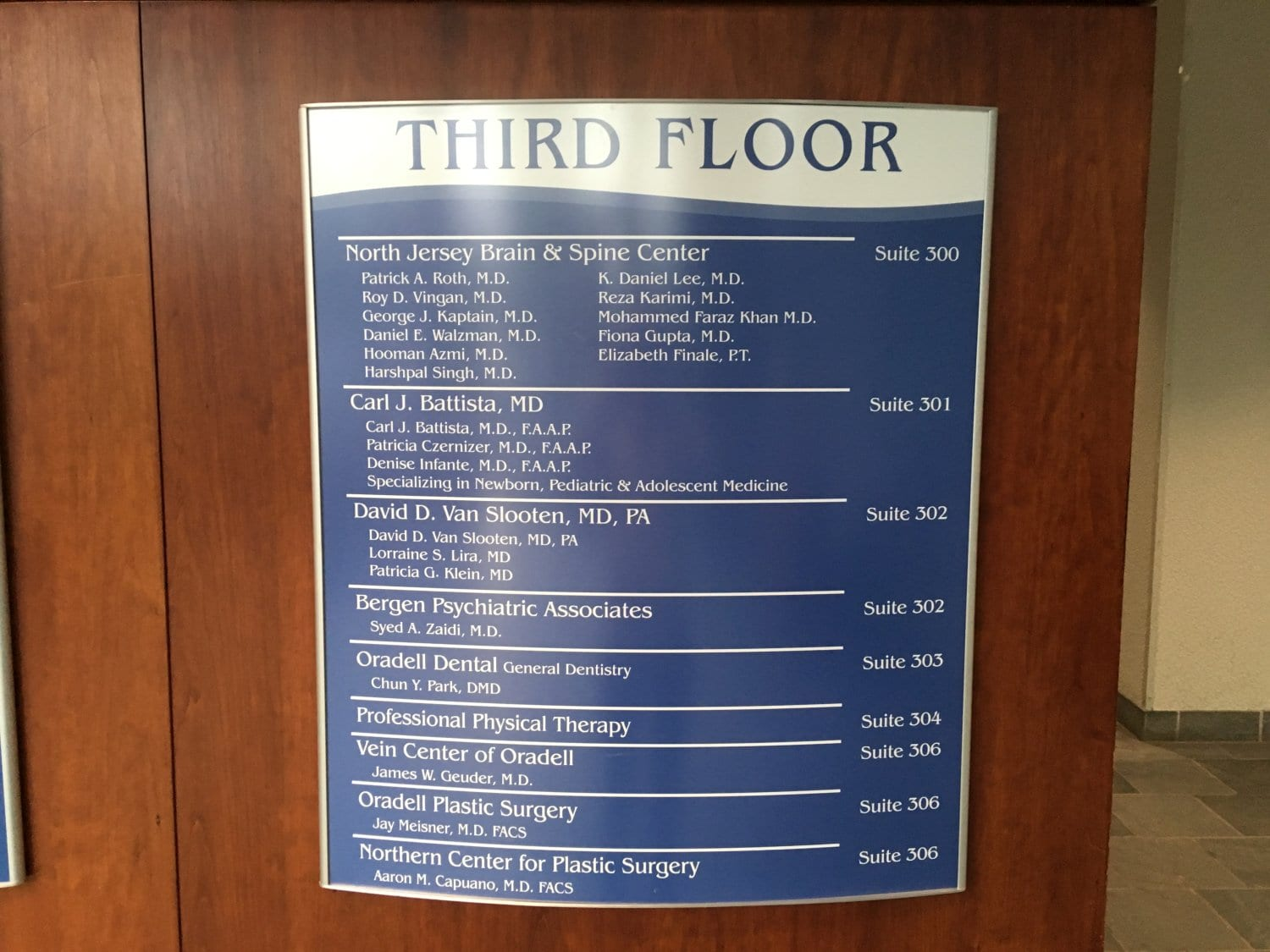 Here is a photo where our physical therapy clinic is located in the building. The facility is in Oradell, New Jersey.