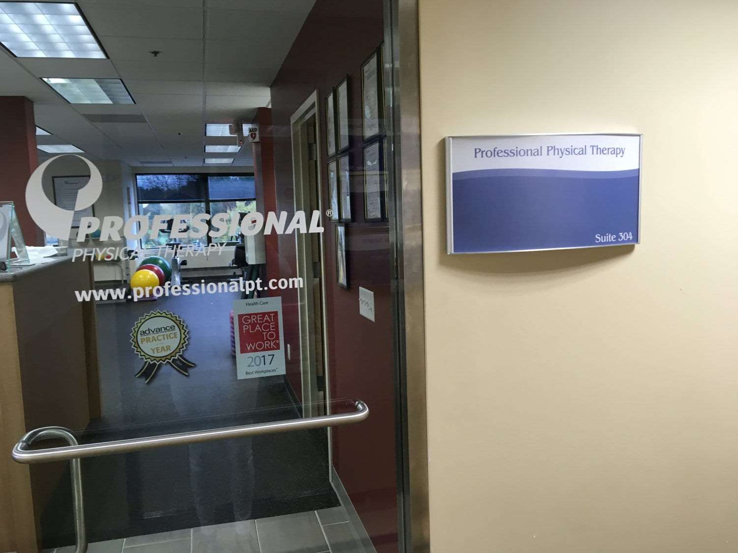 This is an image of the door to our faility. The sign reads, professional physical therapy. This is at our clinic in Oradell, New Jersey.