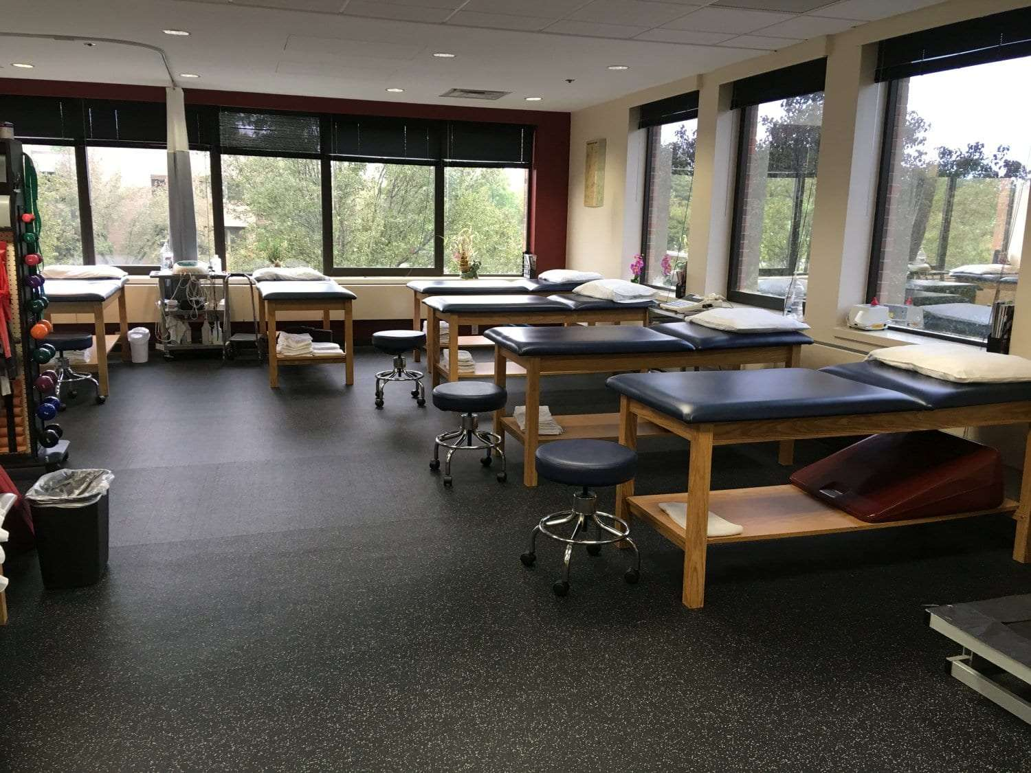 Here is a photo of 6 stretch beds surrounding our training room at our physical therapy clinic in Oradell, New Jersey.