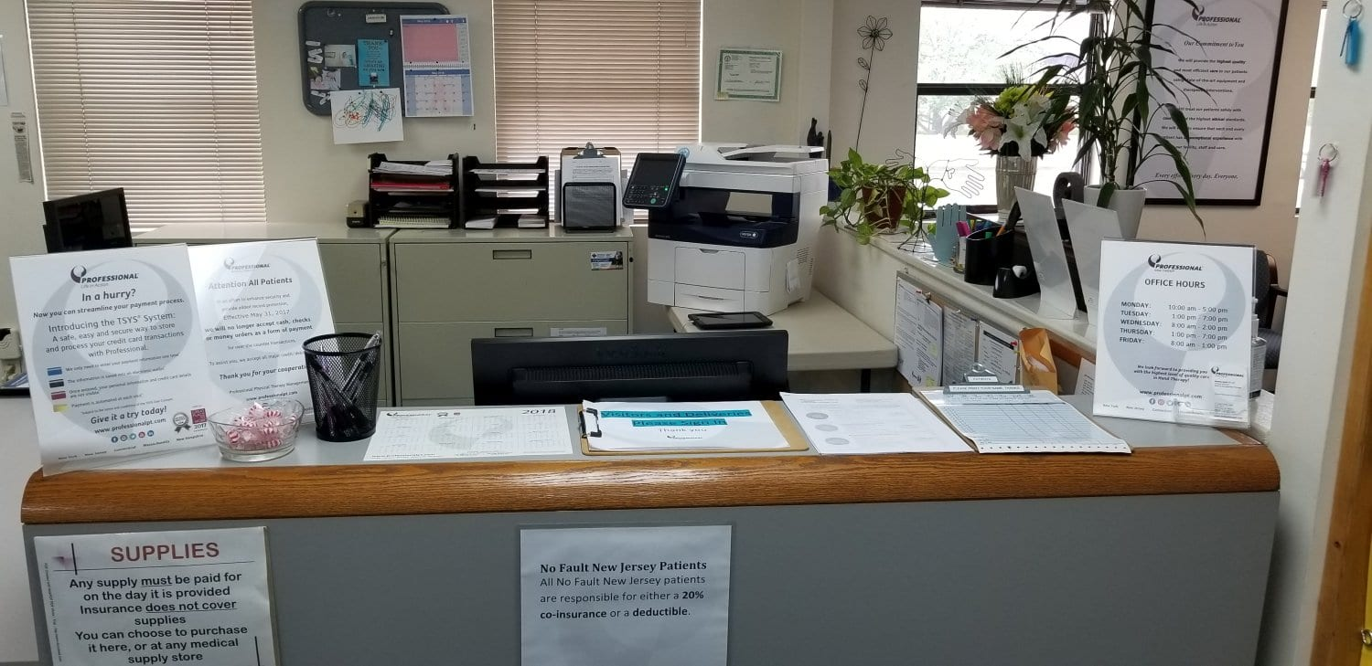 Here is an image of the front desk at our physical therapy clinic in Somerset, New Jersey.