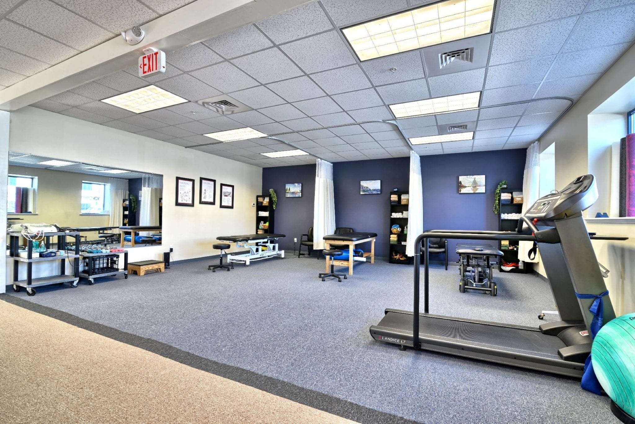 A photo of the interior of our clean facility at our physical therapy clinic in Amesbury, Massachusetts.