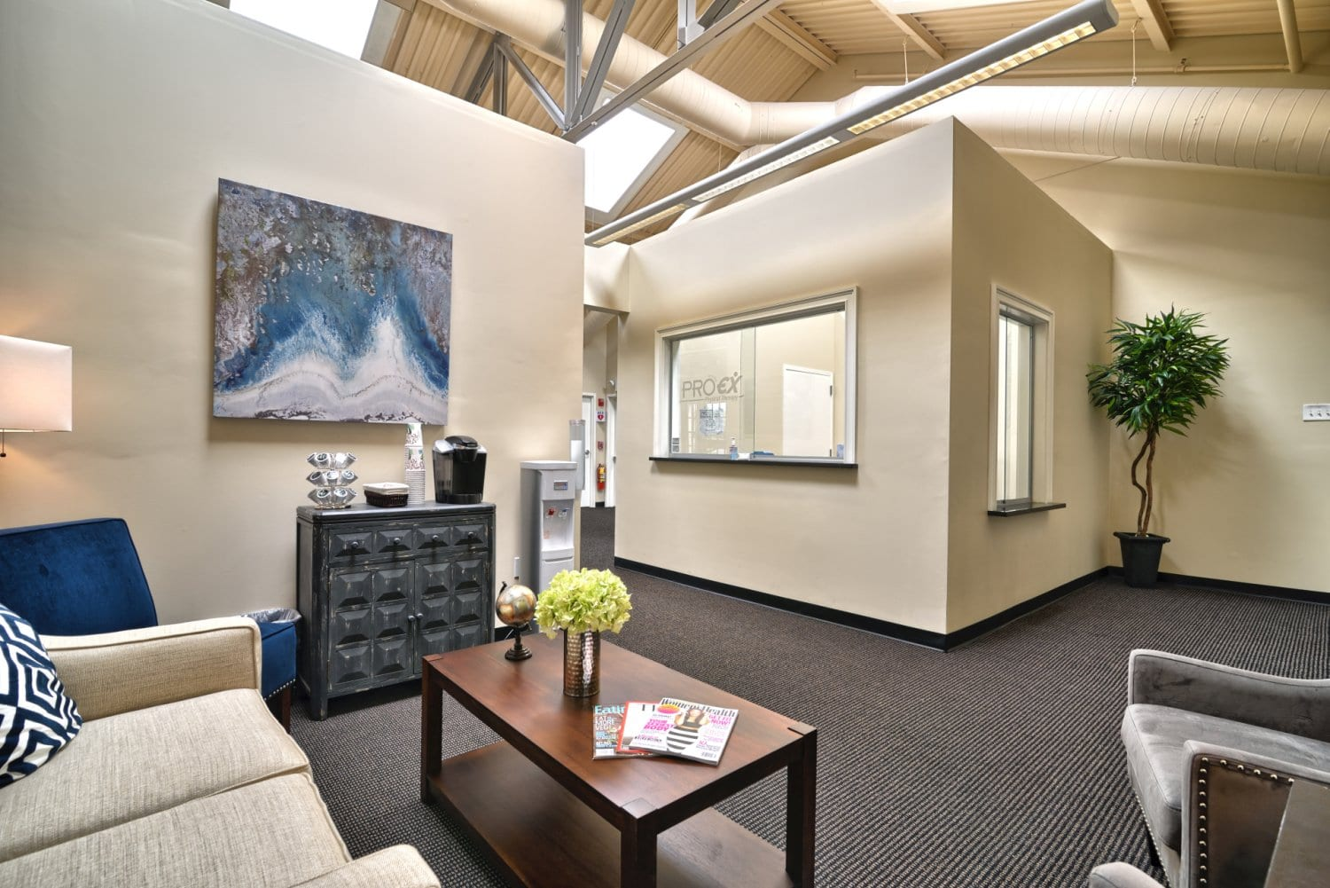 Here is a photo of the patient waiting area at our physical therapy clinic in Arlington, Massachusetts.