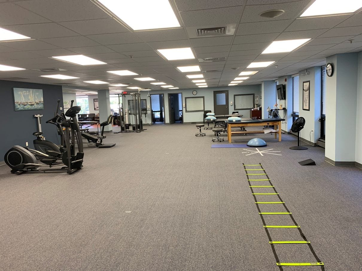 Main rehabilitation room at our Braintree, MA physical therapy clinic.