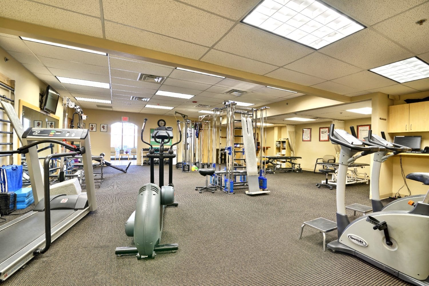 An image of various exercise equipment at our physical therapy clinic in Springfield, Massachusetts.