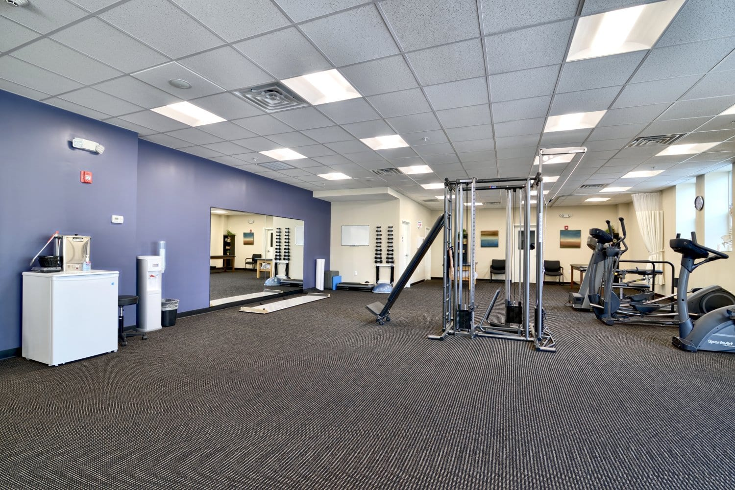 An image of the interior of our clean, well maintained physical therapy clinic in Waltham, Massachusetts.