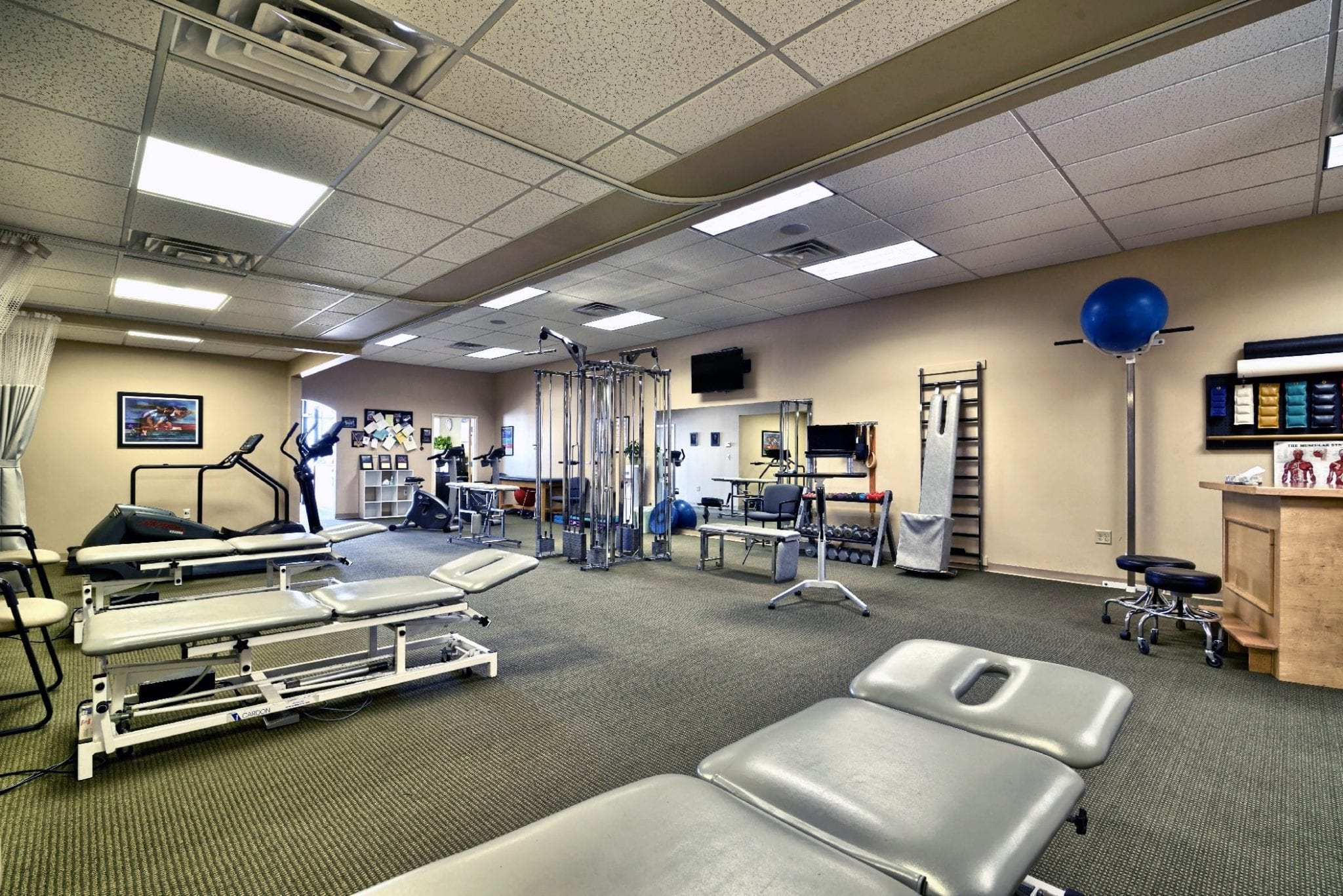 This is a photo of the interior of our physical therapy clinic in Epping, New Hampshire. This image shows a clean facility.
