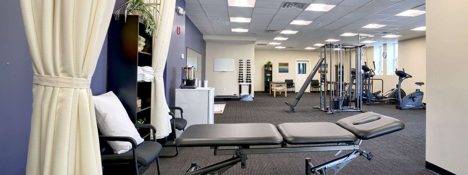 Interior of our physical therapy and sports medicine clinic in Waltham, Massachusetts.