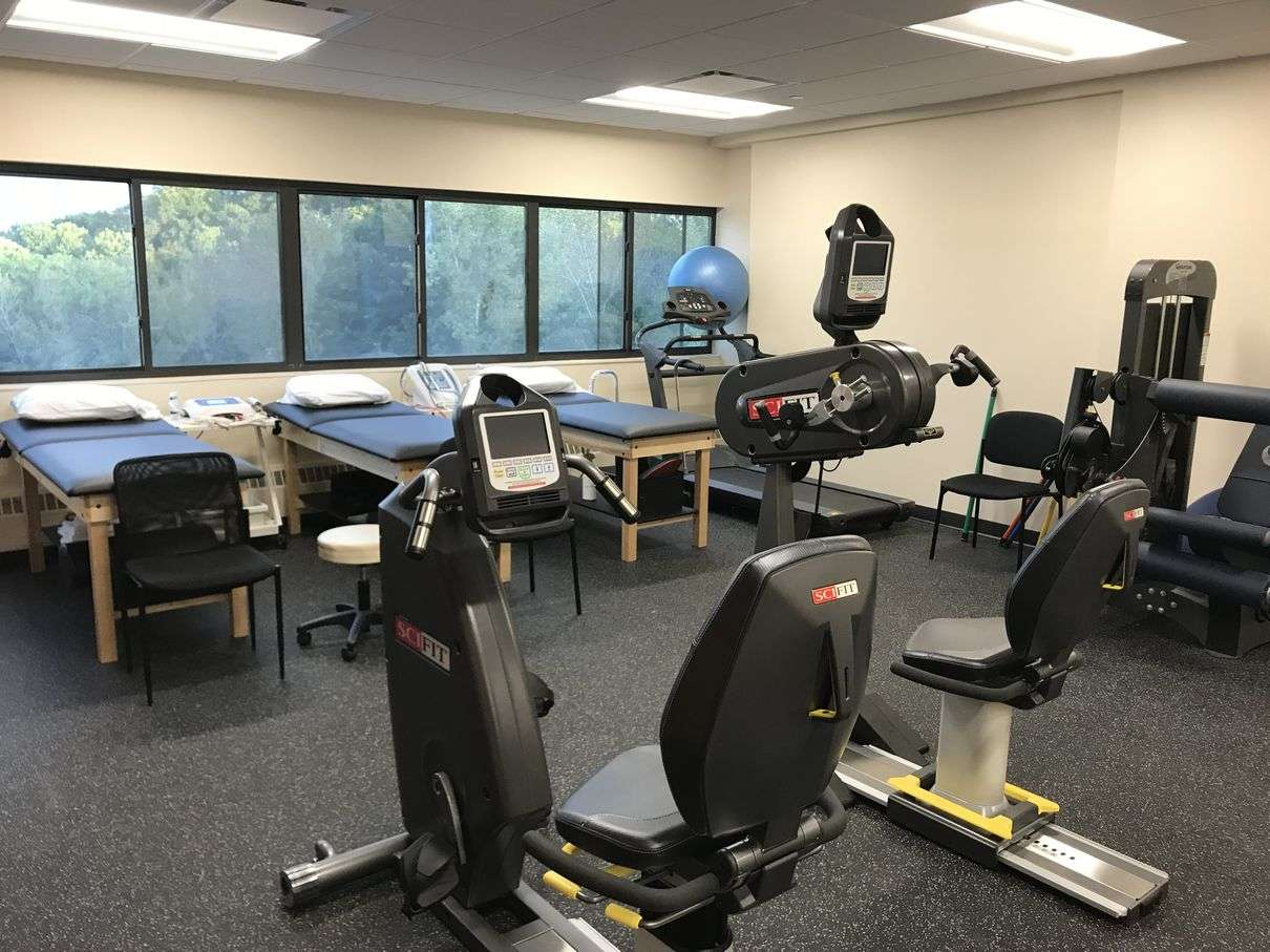 Interior tables and bikes at our Yonkers, NY physical therapy and sports medicine clinic.