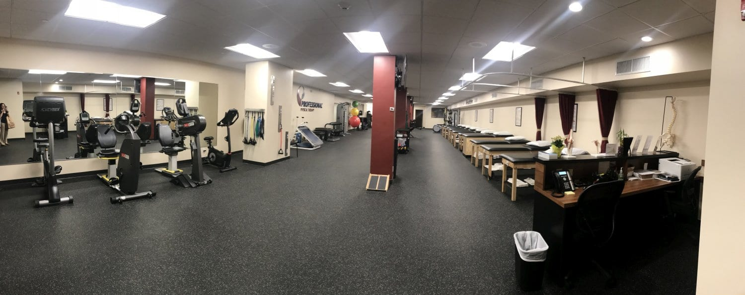 Here is a wide view photo of our training room at our physical therapy clinic in New Rochelle, New York.