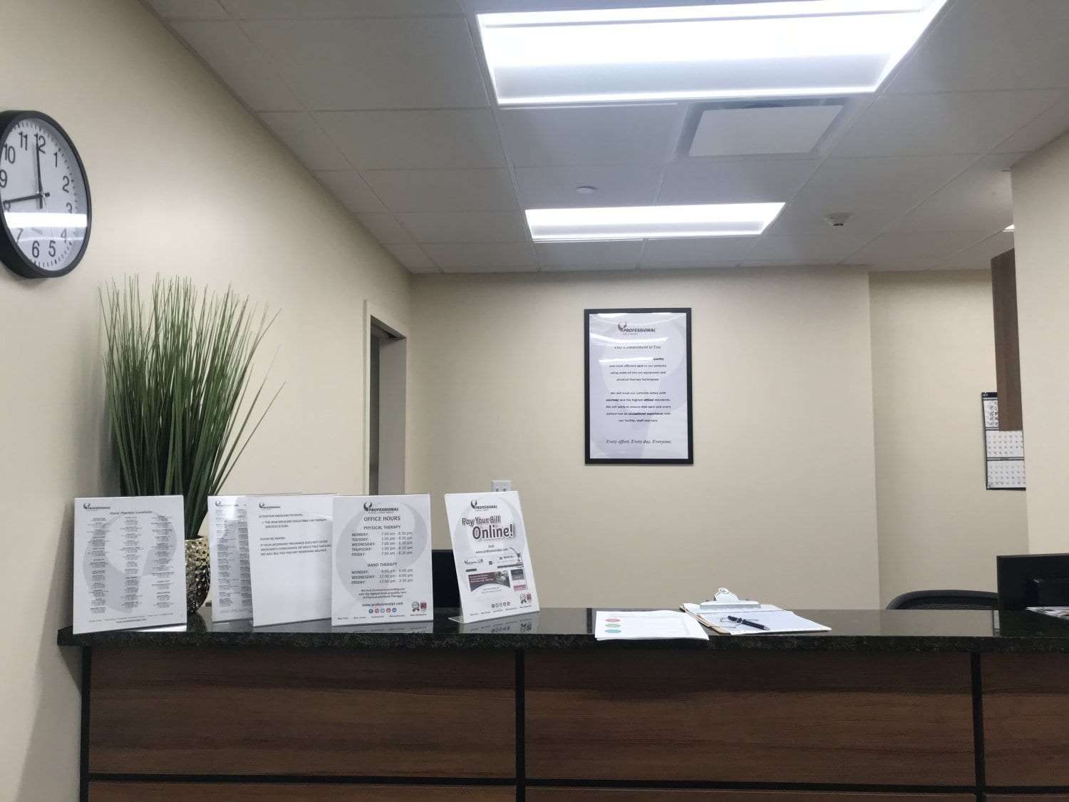 This is an image of the front desk at our physical therapy clinic in New Rochelle, New York.