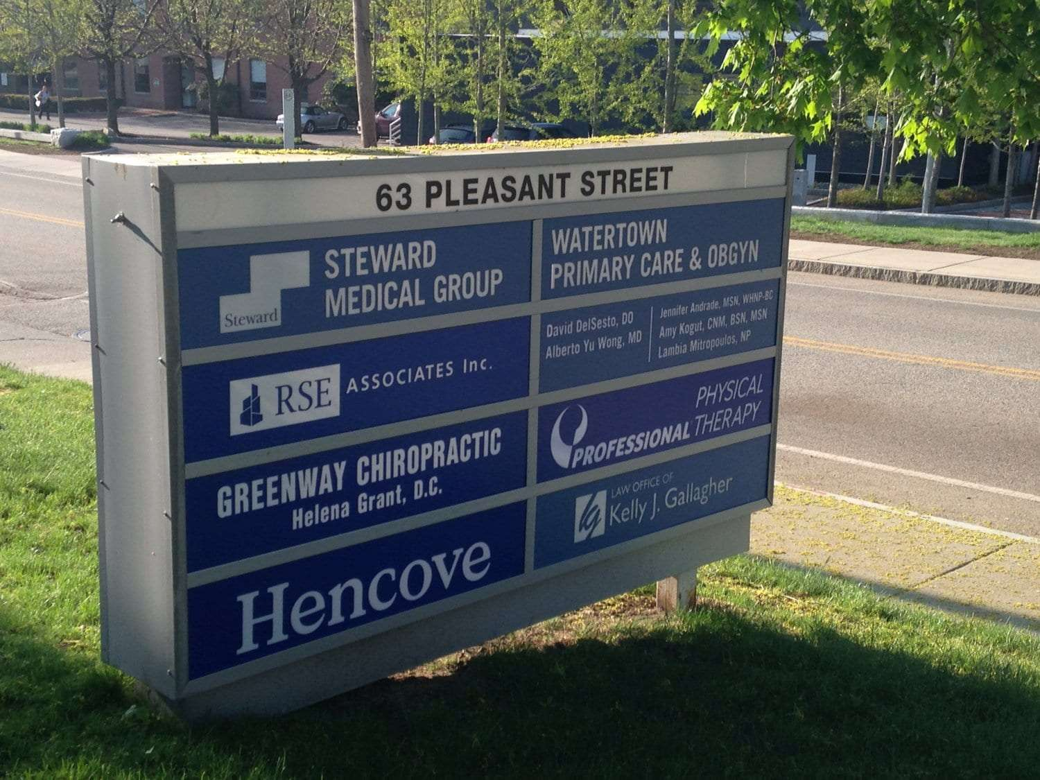 Here is an image of the sign outside our physical therapy clinic in Watertown, Massachusetts.