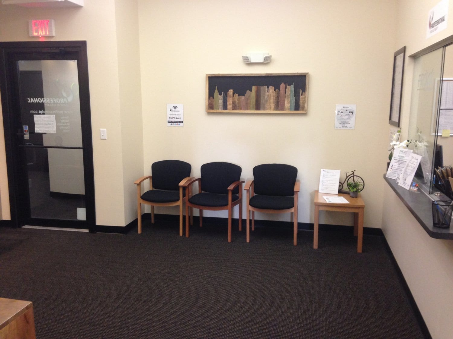 This is an image of the other part of our waiting area in our physical therapy clinic in Watertown, Massachusetts.