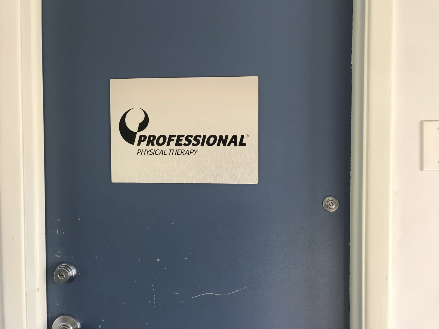 Here is the door to our physical therapy clinic in West Caldwell, New Jersey.