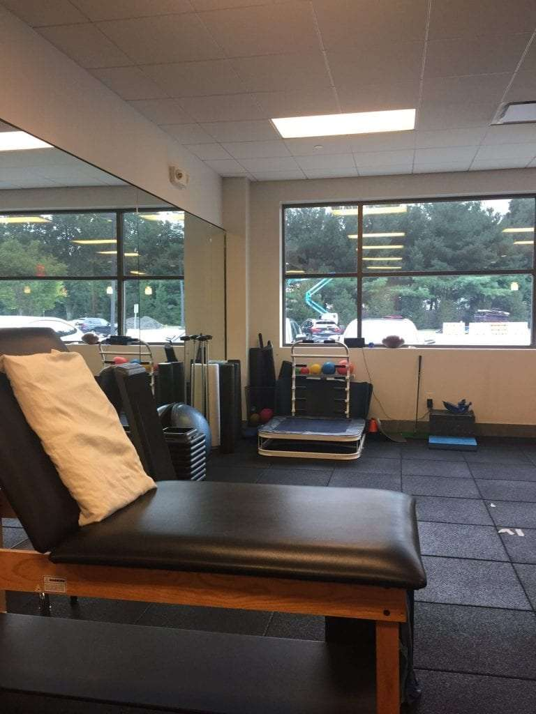 This is a close up photo of a stretch bed in our training room at our physical therapy clinic in Paramus, New Jersey.