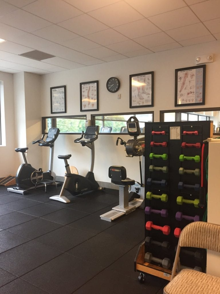 A photo of equipment including weights at our physical therapy clinic in Paramus, New Jersey.