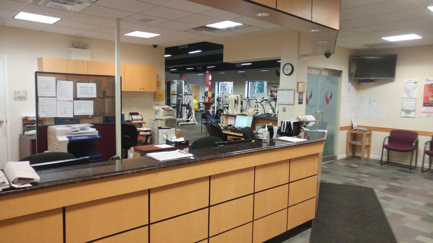 An image of the front desk at our physical therapy clinic in Bayside Whitestone, New York.