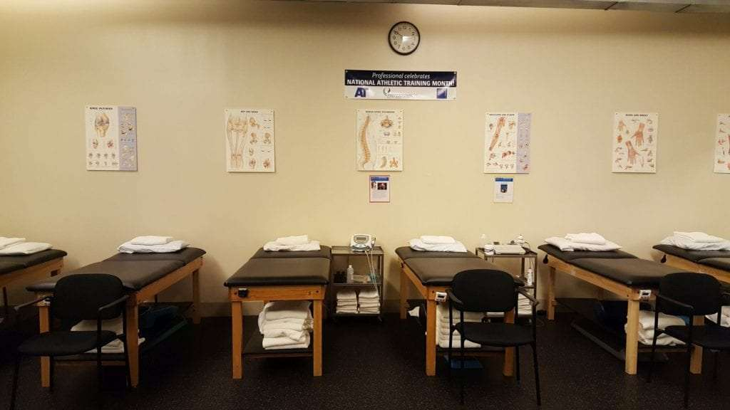 This is an image of our well maintained beds with anatomy charts on the wall in our clinic. Our physical therapy facility is located in Roslyn, New York.