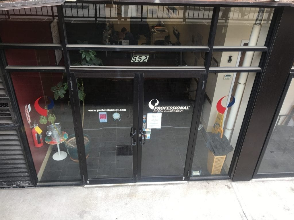 An image of the front entrance to our physical therapy clinic in lower Manhattan, New York City at Chelsea.