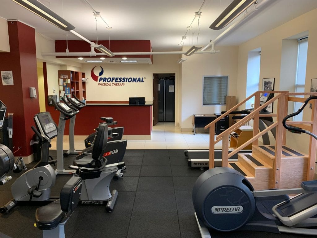 Exercise equipment and reception at our physical therapy clinic in Manhattan, New York City at Upper East Side on 87th st.