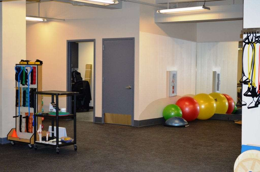 A photo of one of our training rooms used for physical therapy at our clinic in West Pennplaza, New York. The facility is in Manhattan's Midtown West