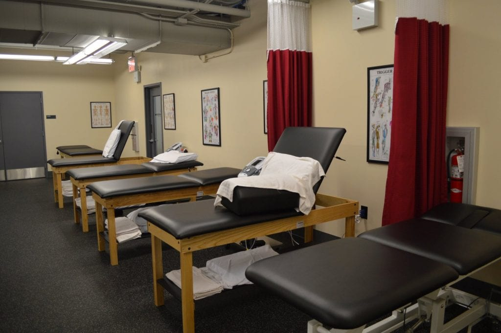 This is an image of five stretch beds used in physical therapy at our clinic in West Pennplaza, New York. The facility is located in Manhattan's Midtown West.