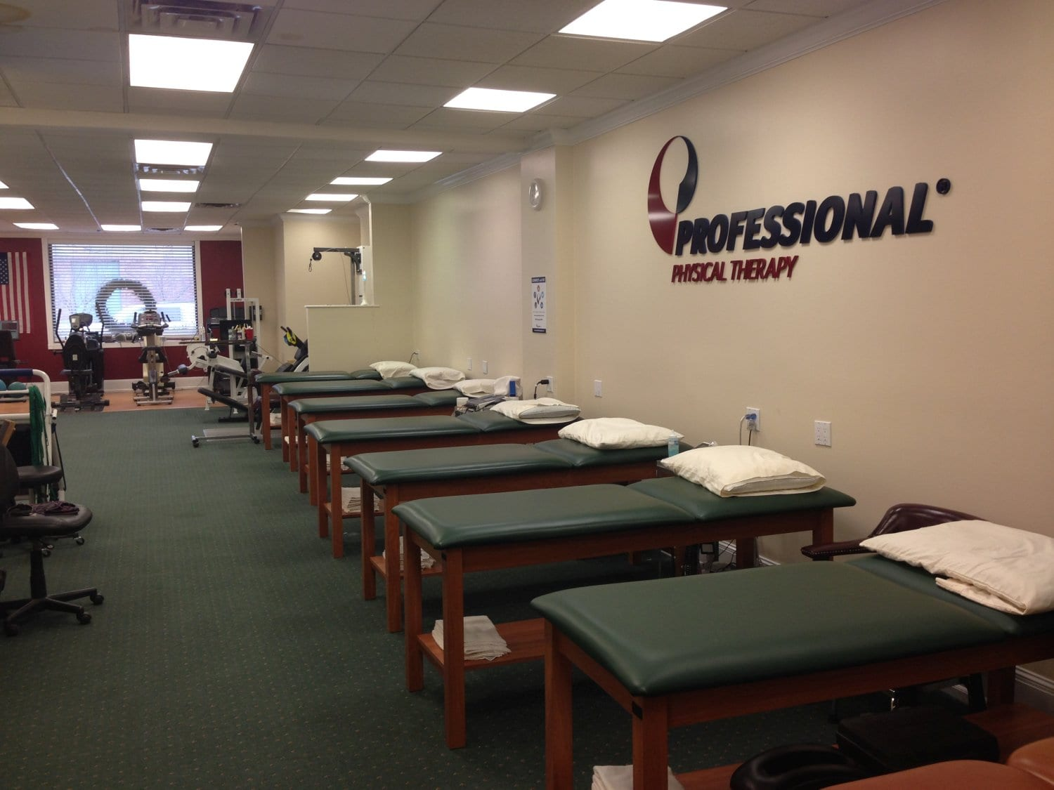 Here is an image of seven clean beds at our physical therapy clinic in Greenlawn, New York.