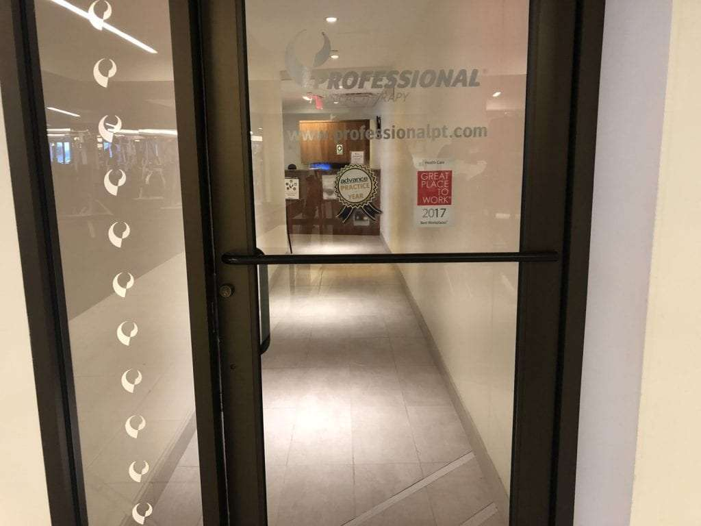 An image of the entrance to our physical therapy clinic in lower Manhattan, New York City at Brookfield.