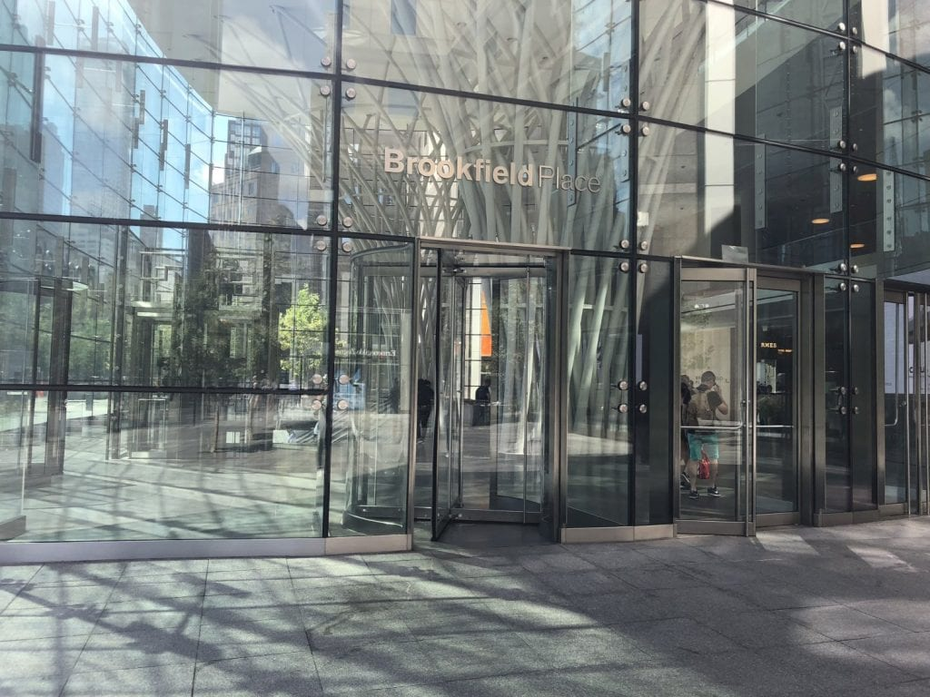 An image of the exterior of the building where our physical therapy clinic is in. The building is located in lower Manhattan, New York City in Brookfield.