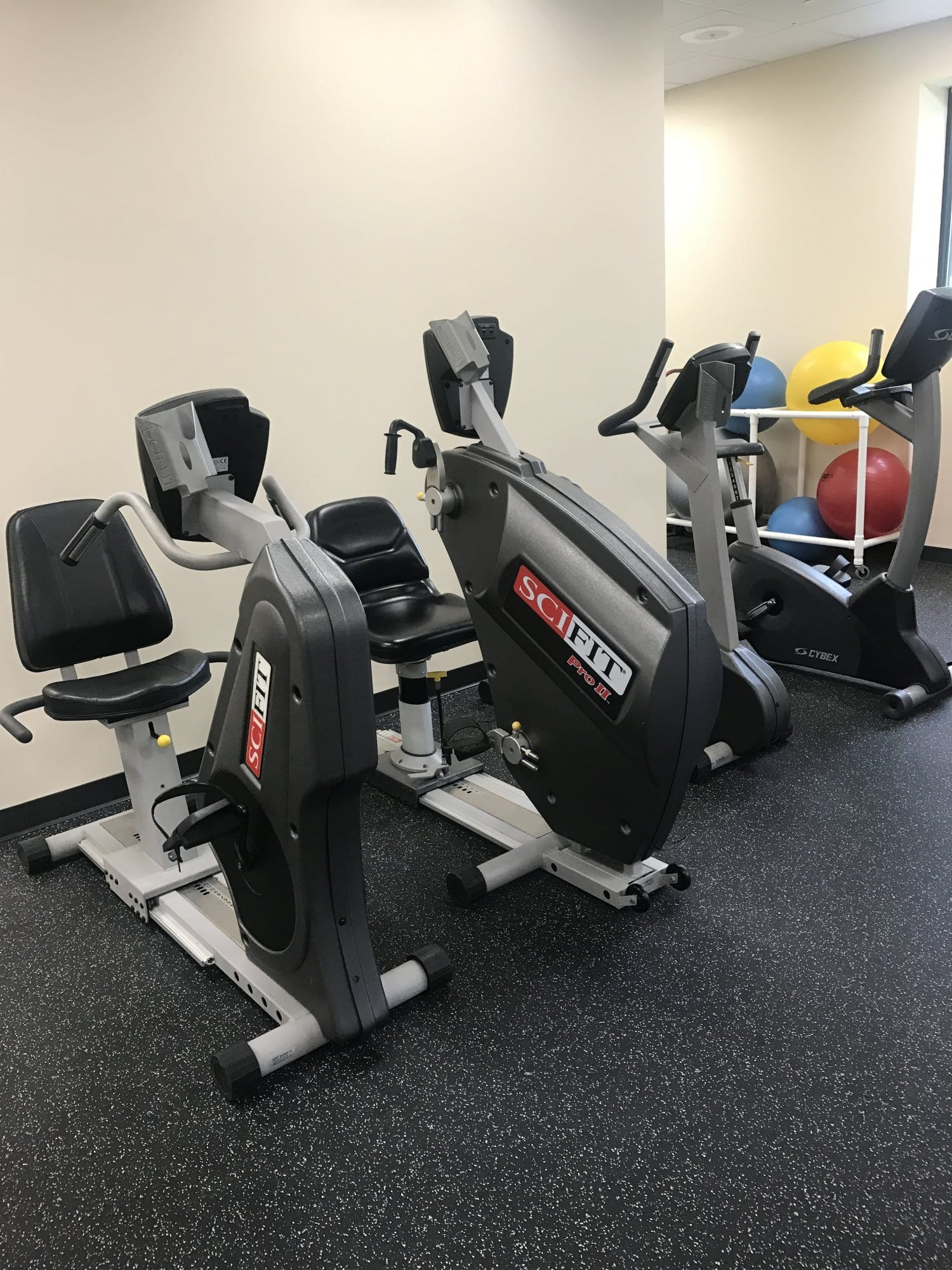 Here is an image of three bikes used in physical therapy at our clinic in Pleasantville, New York. Bikes are great for knee pain exercises.