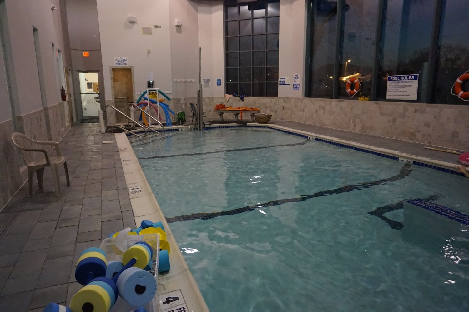 Another angle of the pool showcasing water based physical therapy equipment at our clinic in Copiague, New York.