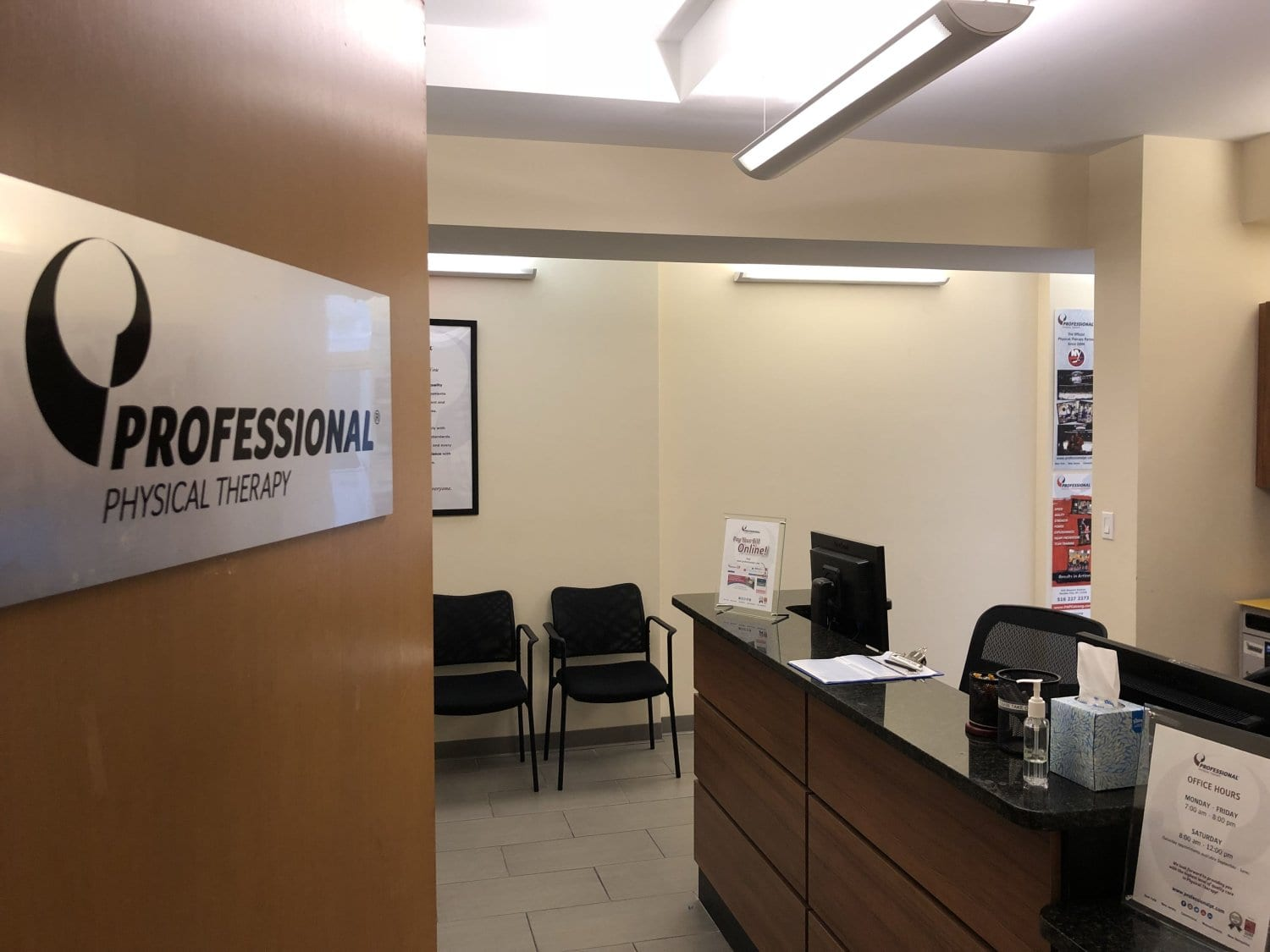An image of the desk and patient waiting area at our physical therapy clinic in Manhattan, New York City at upper east side on 77th st.