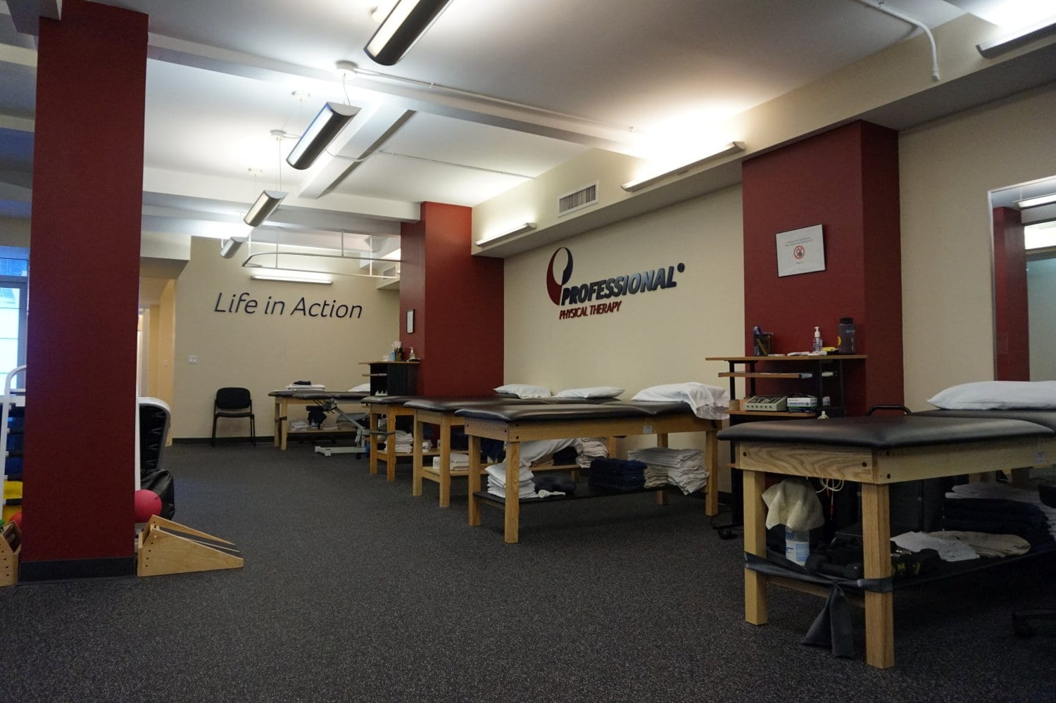 An image of five stretch beds used for physical therapy at our clinic in Manhattan, New York City on upper east side at 77th st.