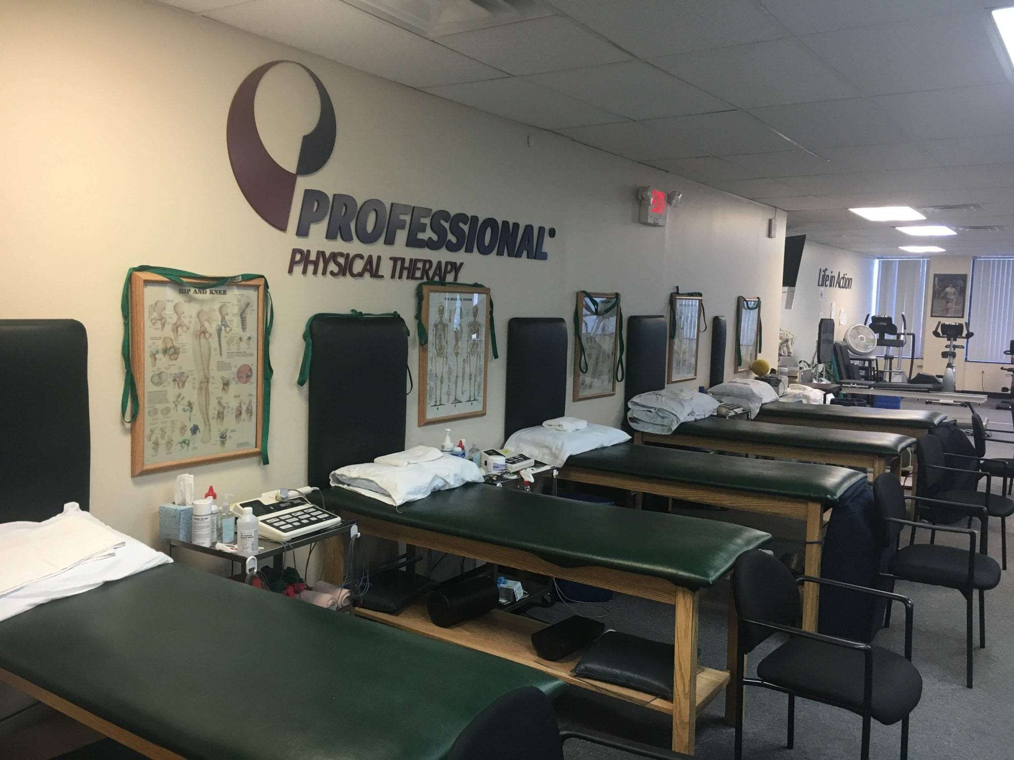 This is a photo of five stretch beds used for physical therapy. There are anatomy images on the wall at our clinic in Longwood, New York.
