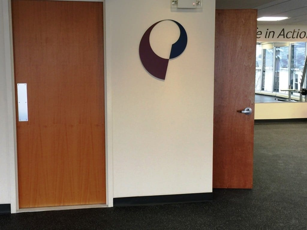 Here is an image of our logo on the wall inside our physical therapy clinic located in Rye Brook, New York.