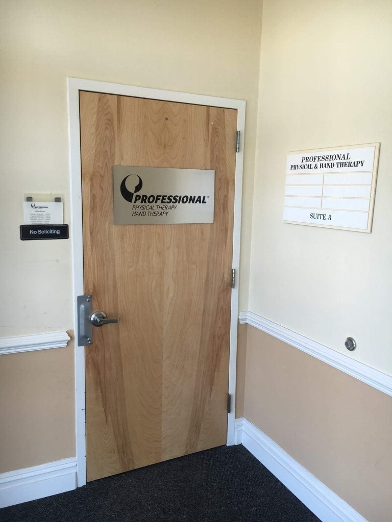 This is an image of the door for our hand & physical therapy clinic in Riverhead, New York.